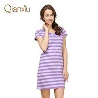 Nightgowns & Sleepshirts cotton nightgown - Qianxiu new arrival hot sale summer women s sleepwear short sleeve nightgown cotton pajamas stripe dress drop shipping
