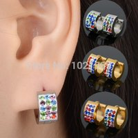 Wholesale New Punk Women Men pair Gold Silver Row Colorful CZ Crystal Hoop Huggie Earrings