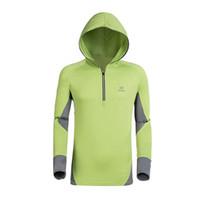 Precio de Camiseta para correr verde-Al por mayor-Sport Green Sun Protección Anti-UV Moleton Masculino Ocasional Antibacterianos Wicking T Shirt Hoodies Hombres Correr Chaqueta de secado rápido