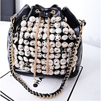 Wholesale Unique Button Bucket Bags Drawstring Cross Body Bags Luxury Design Evening Handbags Womens Portable Chain Bags For Sale