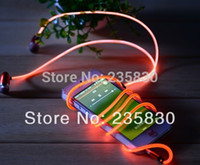flash mp5 - Red green blue flashing Led earphone ear mic headphone for mobile MP3 MP4 MP5 APPLE IPHONE wired in ear