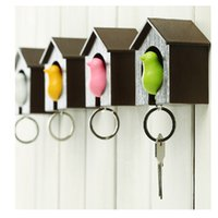 Wholesale Hot Sale Key Ring Birdhouse Keychain Lover Sparrow keychain Gadget Home Bird House Key Chain Holder Wedding Creative Gifts E451L