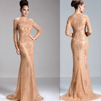 Wholesale Sexy Dress For Night Party - Long Sleeve Evening Gowns 2016 Night Ladies Sheer Lace Gold Mermaid Special Occasion Party Dresses Elegant Formal Prom Dress For Women