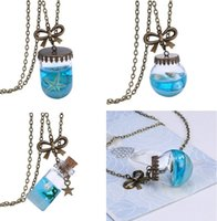 american marines - New Marine Style Drift Bottle Pendant Necklace The Glass Bottle Starfish Conch Pearls Pendant Necklace Romantic Valentine s Day Gift