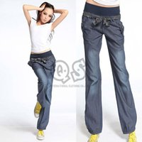 bloomers for women - Surprise Best Quality New Bloomers WIde Leg Pants Elastic Waist Bow Trousers for Women Loose Denim Pants Jeans with Belt