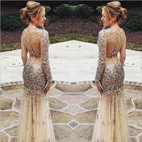 nude sheer beaded dress - 2015 Bling Long Sleeves Evening Dress Sheer Neck Sequins Beaded Crystal Sheath Tulle Nude See Through Formal Prom Dress Pageant Gown