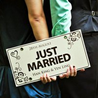 photo booth - Custom made JUST MARRIED Wedding Car Decoration Festive License Plate Number Custom Wedding Car Marriage Car DIY Wedding Decorations