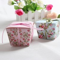 sugar flowers - 20 Blue Pink Floral Flower Trapezoid Wedding Favor Candy Boxes Gift Box Sugar Candy Box With Ribbons