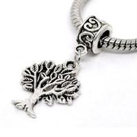 Wholesale Silver Tone Tree Dangle Beads Fit Charm Bracelet x17mm W01045x5