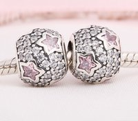 Wholesale beads Original Sterling Silver Christma pink blue Star Charms berloque Fit Pandora Bracelets silver Charm star zirconia