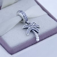 Wholesale Silver Sparking Palm Tree Charm pendant charm Original Sterling Silver Charms DIY Jewelry Fit Pandora Bracelet CE676