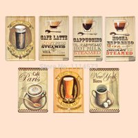 Cheap 7Pcs Set Coffee Bar Vintage Poster Retro Painting Decorative Picture Iron Metal Mural Painting Home Art Wall Decor Tin sign