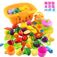 Wholesale Fruit basket toy sets Children s play kitchen toy cut fruit and vegetables plastic toys boy gril playsets happy puzzle
