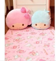 air conditoning - cm Kawaii Onegai Twins Air Conditoning Coral Fleece Blanket Dual Pillow Cushion Plush Toy KCS