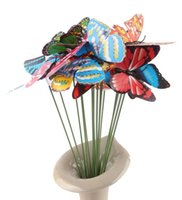 Wholesale Wedding Decoration Butterfly On Sticks Garden Vase Lawn Craft Art DIY Decoration Beautiful cm Simulation Butterfly Kids Toys
