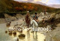 art rivers - Print Painting on Canvas quot Franz Roubaud Cossacks in the mountain river quot Home Wall Deco x36 in