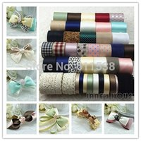 Wholesale 42 Yards Mixed ribbon set Grosgrain Satin Ribbon Stripe ribbon Printed ribbon Children Garment Accessories