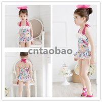 Wholesale 2015 New Girl Summer Pink Cute one piece Skirt Swimsuit Age T Factory Direct Sale Big Promotion