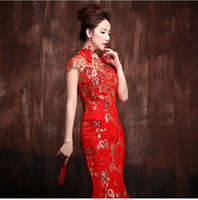 traditional chinese wedding dress - 2015 New Arrival Women Cheongsam Chinese Traditional Bride Wedding Dresses Sexy Beads Shining Chinese Dresses Mermaid Toast Clothing