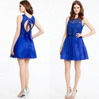 Wholesale 2015 Royal Blue Graduation Dresses for th Grade Students Short Sheer Neck Open Keyhole Back with Sash Short Mini Party Gowns
