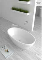 Wholesale 1600X850X580mm CUPC certificate Oval freestanding acrylic bathtub made of acrylic ABS composite board ultra thin soaking tub WD001