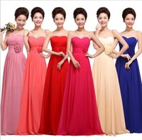Wholesale Cheap long bridesmaids dresses for wedding party new plus size strapless chiffon flower wedding prom evening dresses under