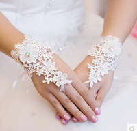 high quality gloves - 2016 Hot Sale High Quality Ivory Fingerless Short Paragraph Elegant Rhinestone Bridal Wedding Gloves