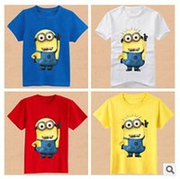 Cheap Wholesale-New 2015 Cotton Cartoon Anime Figure Despicable Me Minions Clothes Costume Children's Clothing T-shirts Baby's Wear