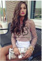 Cheap 2014 Free Shipping Full Sleeve Hollow out Fllower Lace Women's Chiffon Casual Blouse & shirts chiffon tops X356
