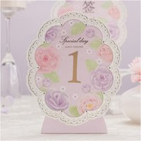 Wholesale Purple Wedding Table Number Card Floral Table Cards as Wedding Party Favors Supplies Summer