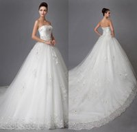 affordable bridal dresses - 2016 Elegant Lace Strapless Wedding Dresses A line Stain Rhinestone Crystal Beading Chapel Train Lace up Bridal Gowns Affordable