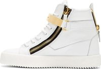 Cheap New 2015 men's women's white genuine leather with golden hook high top sneakers,designer brand causal double zip sports shoes Free Ship