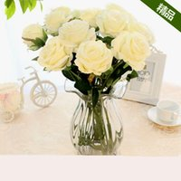 artificial orange roses - Silk roses Artificial Rose Silk Craft Flowers Real Touch Flowers For Wedding Christmas Room Decoration bouquet bridal hand