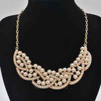 Wholesale Fashion beads Necklace False Collar Necklace Pearl Hollowed Golden ChokerPendant EH102