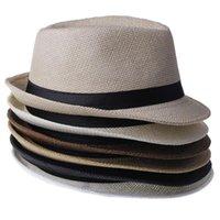 Wholesale Panama Straw Hats Fedora Soft Vogue Men Women Stingy Brim Caps Colors Choose cheap HX