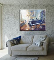 Cheap home interior decor oil canvas painting classic room decorative home piano art picture paint on canvas printed free shippingY760