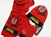 Wholesale 2015 HOT sale spider man fashion scarf cheap hats gloves set high quality knitting A three piece Children s hat ST19