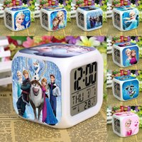 Wholesale 2015 New Arrival frozen Alarm Clock Elsa Anna olaf snowman digital clock Table Clocks LED DisplayTime Date and Temperature dhl