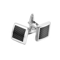 Wholesale Stainless Steel Square Carbon Fiber Grid Cuff links