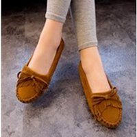 Wholesale 2015 spring and summer fashion tassel bow flat heel round toe Moccasins single shoes women plus size women s shoes