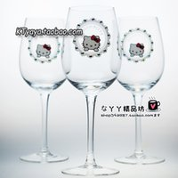 art glass goblets - Hello Kitty Hello Kitty KT glass red wine goblet champagne glass crystal cup on sale