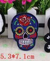 Wholesale Embrodered Blue sugar punk skull Iron on Patch diy craft sewing