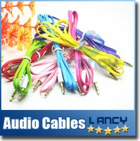 Wholesale Flat Noodle mm to mm Audio Cable Colorful Male Car Stereo AUX Extended Audio Auxiliary Cord for iPhone Samsung MP3 MP4 Cheap US02