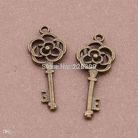 antique bronze flower vintage pendant - pc mm Antique Bronze Flower Metal Key Charms Pendant Charm Vintage DIY Jewelry Findings Making Accessories Y229