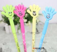 Wholesale Free Ship refills mm Black Blue Ink cm Smiling Hands Gel Pen Cute Countryside Gel Pen For Students Kids Christmas Gift