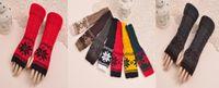 Wholesale 2015 New Style Winter Women Gloves Warm Long Wrist Arm Fingerless Gloves Winter Crochet Lengthen Gloves Knit Mitten Mix Colors