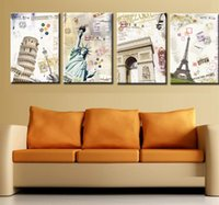 Cheap 4pcs Decorative oil painting Modern home interior wall art picture quality European American retro scenic spot canvas OM33-36
