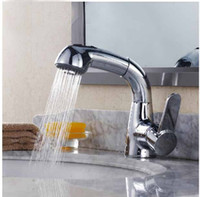 bathroom pull handles - Deck Mount Pull Out Bathroom Basin Faucet Single Handle Chrome Brass Sink Mixer