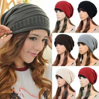 Wholesale Unisex Women Winter Plicate Baggy Berets Knit Crochet Ski Cap Oversized Slouch Hat T18