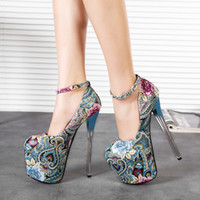 america style shoes - 19CM Heel Height Europe America Popular Style Beautiful Floral Prints Wedding Shoes Women Shoes size to
